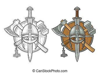 Set edged weapons viking. Knife, axe, sword, hammer. Vintage engraving
