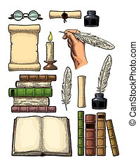 Set education. Inkwell with feather, pile books, glasses, candle. Engraving
