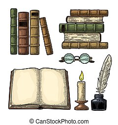 Set education. Inkwell with feather, pile books, glasses, candle.