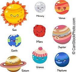 set, education., planeet, komisch, ontwerp, gekke , iconen, doodle, kinderen, characters., achtergrond, mal, symbolen, poster, dekking, web, zonne, spotprent, behang, gekleurde, system., kaart, groet, s, vector