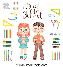Set educational elements of design. Students girl and boy. Stationery. Lettering Back to School.
