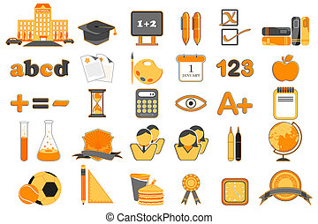 set, educazione, icona