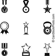 set, eenvoudig, gedeelte, stijl, iconen