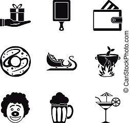 set, eenvoudig, stijl, bounty, iconen