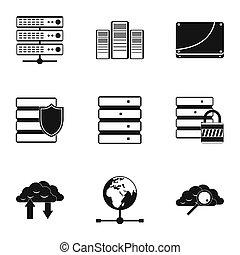 set, eenvoudig, stijl, de pictogrammen van de computer