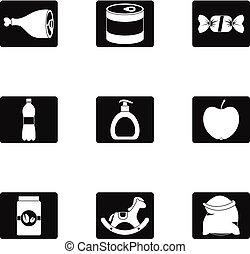 set, eenvoudig, stijl, iconen