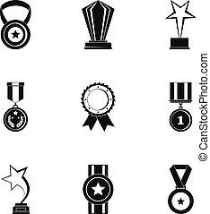 set, eenvoudig, stijl, ontvangst, iconen