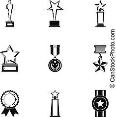 set, eenvoudig, stijl, partij, iconen