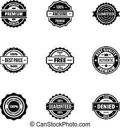 set, eenvoudig, stijl, realisatie, iconen