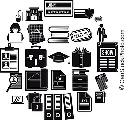 set, eenvoudig, stijl, schrijvende , iconen