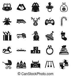 set, eenvoudig, stijl, speelbal, iconen