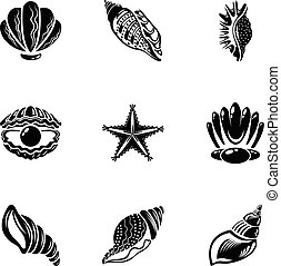 set, eenvoudig, stijl, tweekleppig dier, iconen