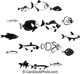 set, eenvoudig, visje, stijl, iconen