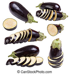Set eggplant vegetable fruits