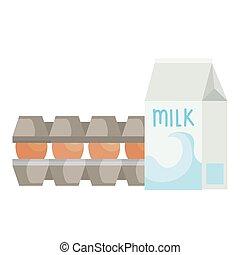 set eggs in package cardboard with bottle milk