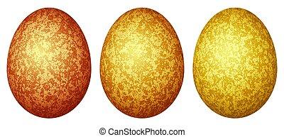 set, eieren kleurde, drie, (red, sinaasappel, yellow), pasen