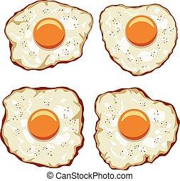 set, eitjes, vector, heerlijk, ontbijt, gebraden