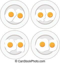set, eitjes, vector, heerlijk, platen, ontbijt, gebraden