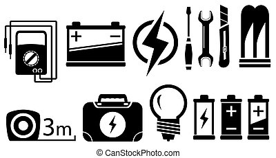 set of black isolated electrical objects and tools