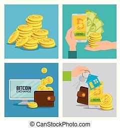set electronic bitcoin to exchange money
