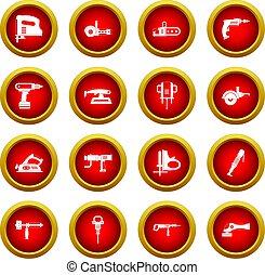 set, elektrisch, cirkel, gereedschap, rood, pictogram