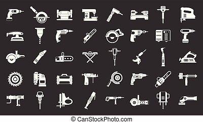 set, elektrisch, grijze , vector, gereedschap, pictogram