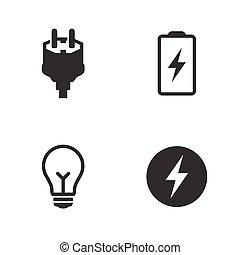set, elektrisch, iconen