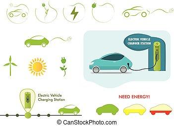 set, elektrische auto, vector, station, opladen, pictogram