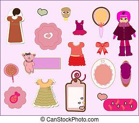 set, -, element, ontwerp, plakboek, meisje