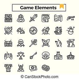 set., elemente, spiel, ikone, grobdarstellung