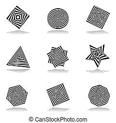 set., elementi, disegno, astratto, icone