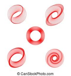 set, elementi, simbolo, helical, color., forma, vettore, cinque, turbine, rotazioni, rotondo, rosso