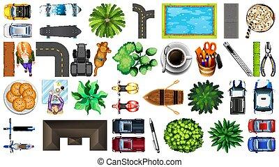 set, elemento, parco, aereo, decorazioni, isolato