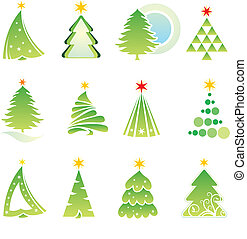 set., elementos, diseño, navidad