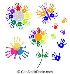 Set elements for design of handprints