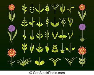 set, elements., germoglio, set., simbolo, vettore, verde, disegno, foglie, icona