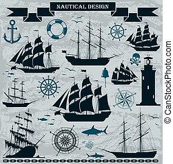 set, elements., navi vela, disegno, nautico