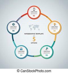 set, elements., plat, infographic, ontwerp, iconen, grafiek, rapport, 5, infographics, cirkel, zijn, gebruikt, zakelijk, options., tabel, web, stap, diagram, tabel, groenteblik, ronde