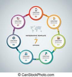 set, elements., plat, infographic, ontwerp, iconen, grafiek, rapport, 7, infographics, cirkel, zijn, gebruikt, zakelijk, options., tabel, web, stap, diagram, tabel, groenteblik, ronde