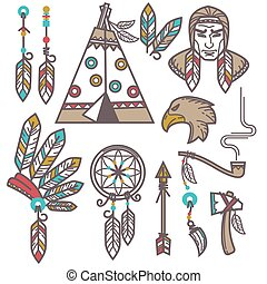 set, elements., west, amerikaan indiaas, ontworpen, wild