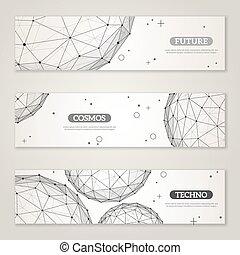 set, elements., wireframe, polygonal, maglia, bandiere