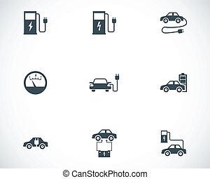 set, elettrico, icone, automobile, vettore, nero