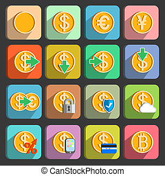 set, elettronico, pagamenti, transazioni, icone
