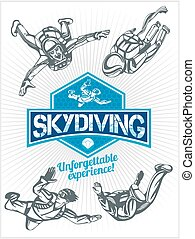 set, embleem, skydivers., -, skydiving., vector