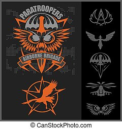 set, embleem, vector, ontwerp, eenheid, militair, template...