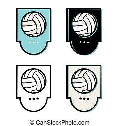 set, embleem, volleybal, iconen