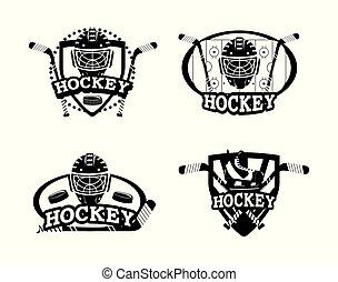 set emblem with hockey helmet and sticks equipment