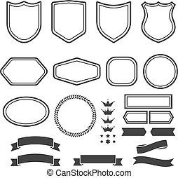 set, emblema, creare, logotype, forme, elementi, nastri