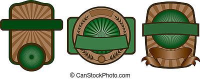 set, emblema, etichetta