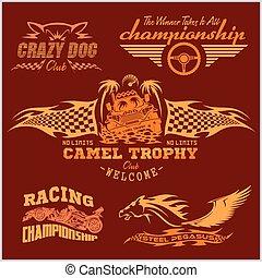 set, emblema, -, sport, vettore, da corsa